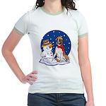 Boxer Dog and Snowman Jr. Ringer T-Shirt