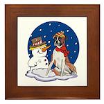 Boxer Dog and Snowman Framed Tile