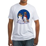 Boxer Dog and Snowman Fitted T-Shirt