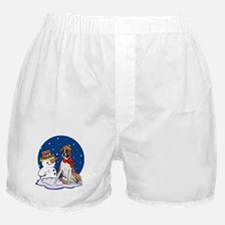 Boxer Dog and Snowman Boxer Shorts