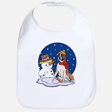 Boxer Dog and Snowman Bib