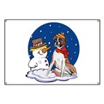 Boxer Dog and Snowman Banner