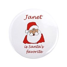 "Janet Christmas 3.5"" Button"