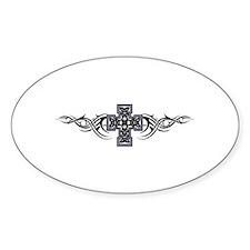Celtic Tribal Cross Oval Decal