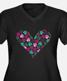 Paw Print Heart Women's Plus Size V-Neck Dark T-Sh