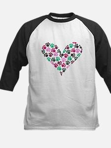 Paw Print Heart Kids Baseball Jersey