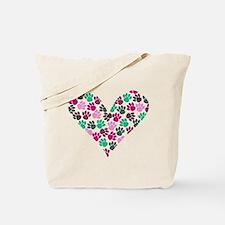 Paw Print Heart Tote Bag