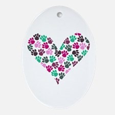 Paw Print Heart Oval Ornament