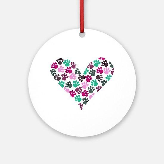 Paw Print Heart Ornament (Round)