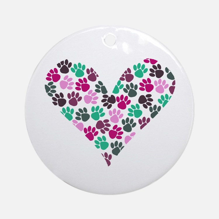 Paw Print Heart Ornament (Round)