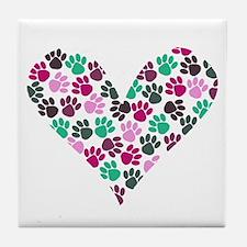 Paw Print Heart Tile Coaster