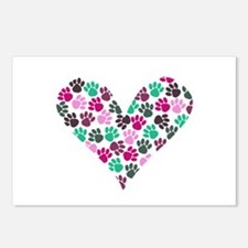 Paw Print Heart Postcards (Package of 8)