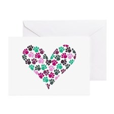 Paw Print Heart Greeting Cards (Pk of 10)