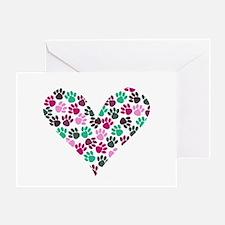 Paw Print Heart Greeting Card
