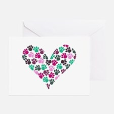 Paw Print Heart Greeting Cards (Pk of 20)