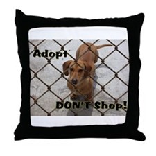 Cute Dachshund shopping Throw Pillow