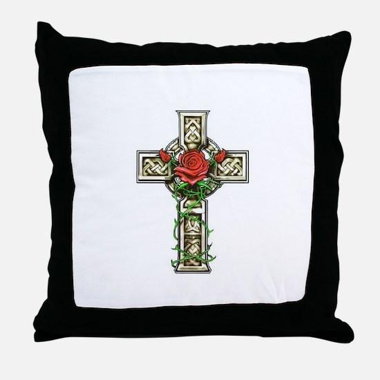 Celtic Rose Cross Throw Pillow