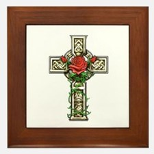 Celtic Rose Cross Framed Tile