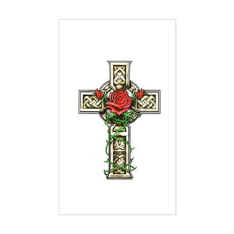 Celtic Rose Cross Rectangle Sticker