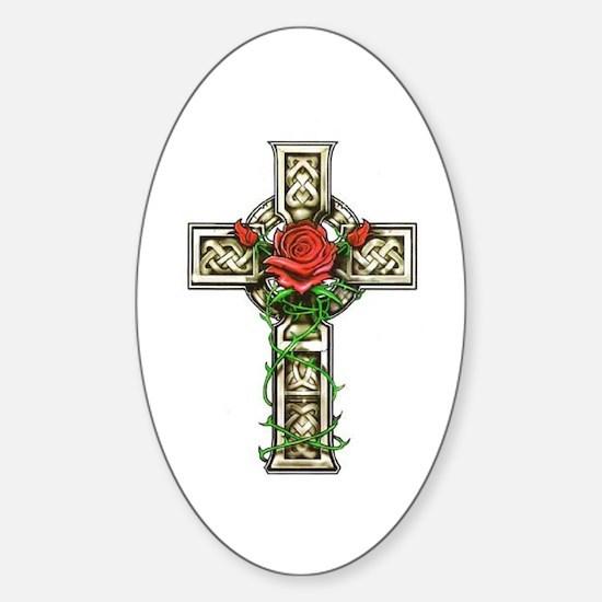 Celtic Rose Cross Oval Decal