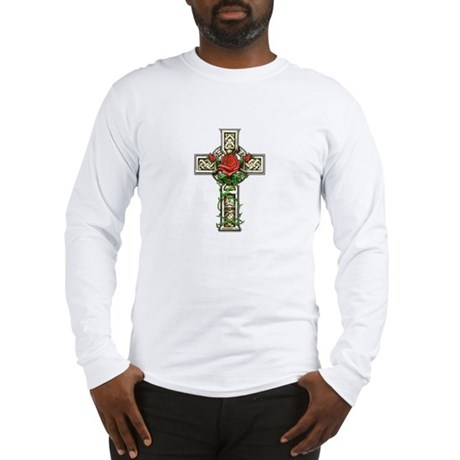 Celtic Rose Cross Long Sleeve T-Shirt