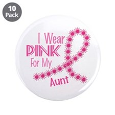 "I Wear Pink For My Aunt 26 3.5"" Button (10 pack)"