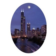 Chicago Nighttime Skyline Oval Ornament
