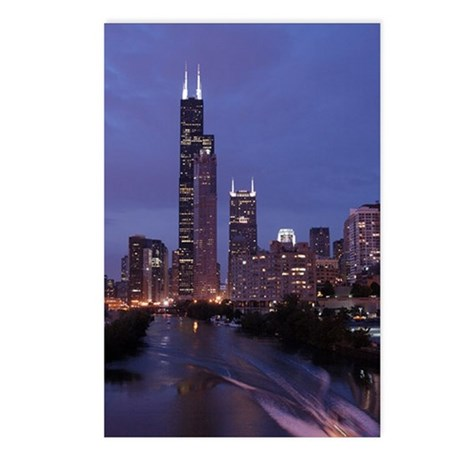 Chicago Nighttime Skyline Postcards (Package of 8)