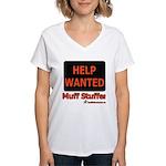 Help Wanted: Muff Stuffer Women's V-Neck T-Shirt