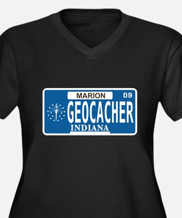 Geocacher Indiana Women's Plus Size V-Neck Dark T-