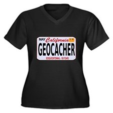 Geocacher California Women's Plus Size V-Neck Dark