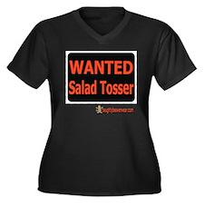 Wanted Salad Tosser Women's Plus Size V-Neck Dark