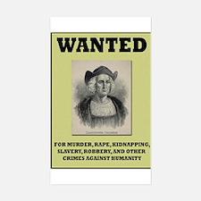 Columbus Wanted Poster Rectangle Decal