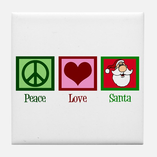 Peace Love Santa Tile Coaster