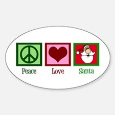 Peace Love Santa Sticker (Oval)