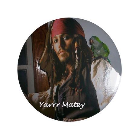 """Peter the Quaker Parrot Yarr 3.5"""" Button"""