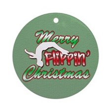 Gymnastics Flippin' Christmas Ornament (Round)