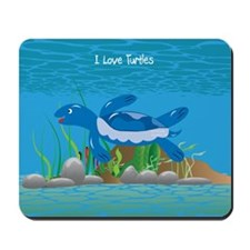 Blue I Love Turtles Mousepad