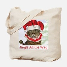 Jingle Bell Cat Christmas Tote