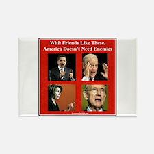 """America's Friends & Enemies"" Rectangle Magnet"