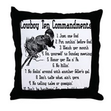 Cowboy Ten Commandments Throw Pillow