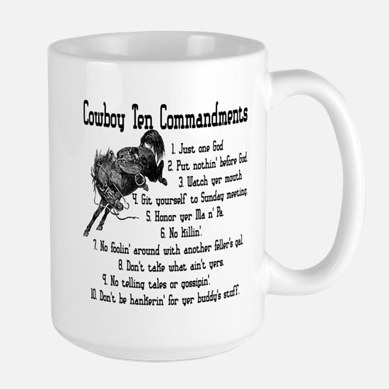 Cowboy Ten Commandments Large Mug