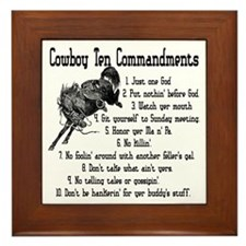 Cowboy Ten Commandments Framed Tile