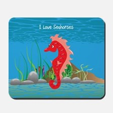 Red I Love Seahorses Mousepad