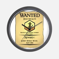 Catan Wanted Poster Wall Clock