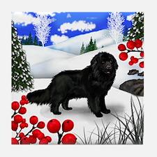 NEWFOUNDLAND DOG WINTER BERRIES Tile Coaster