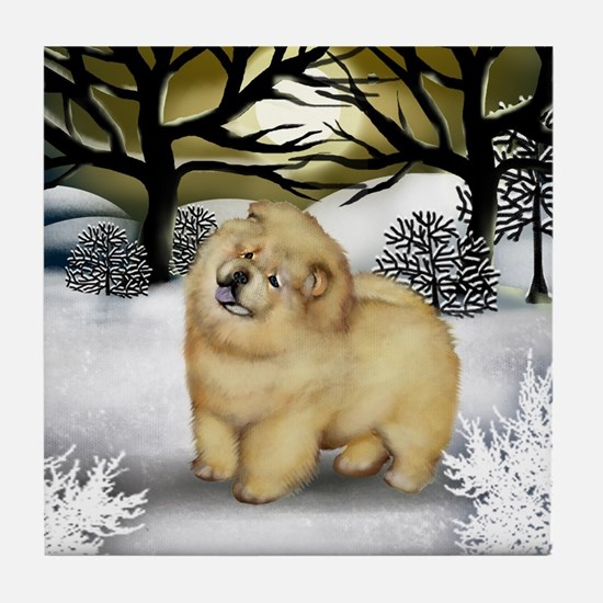 CREAM CHOW CHOW DOG WINTER Tile Coaster
