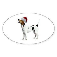 English Foxhound Christmas Oval Decal