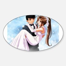 Anime Bride & Groom Oval Decal