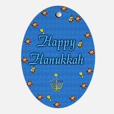 Whimsical Happy Hanukkah Keepsake (Oval Ornament)